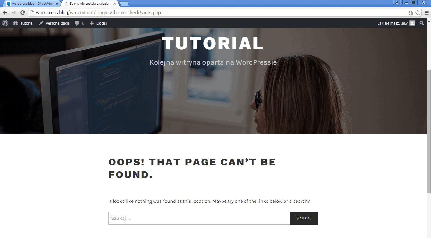 wordpress-blog-witryna-testowa-blad-404