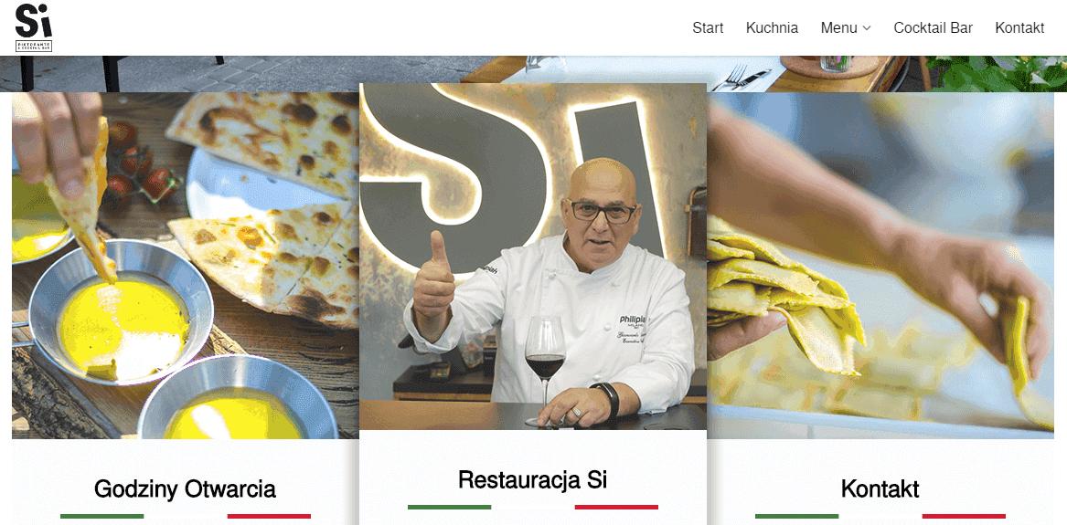 strona internetowa restauracji baru lub kawiarni