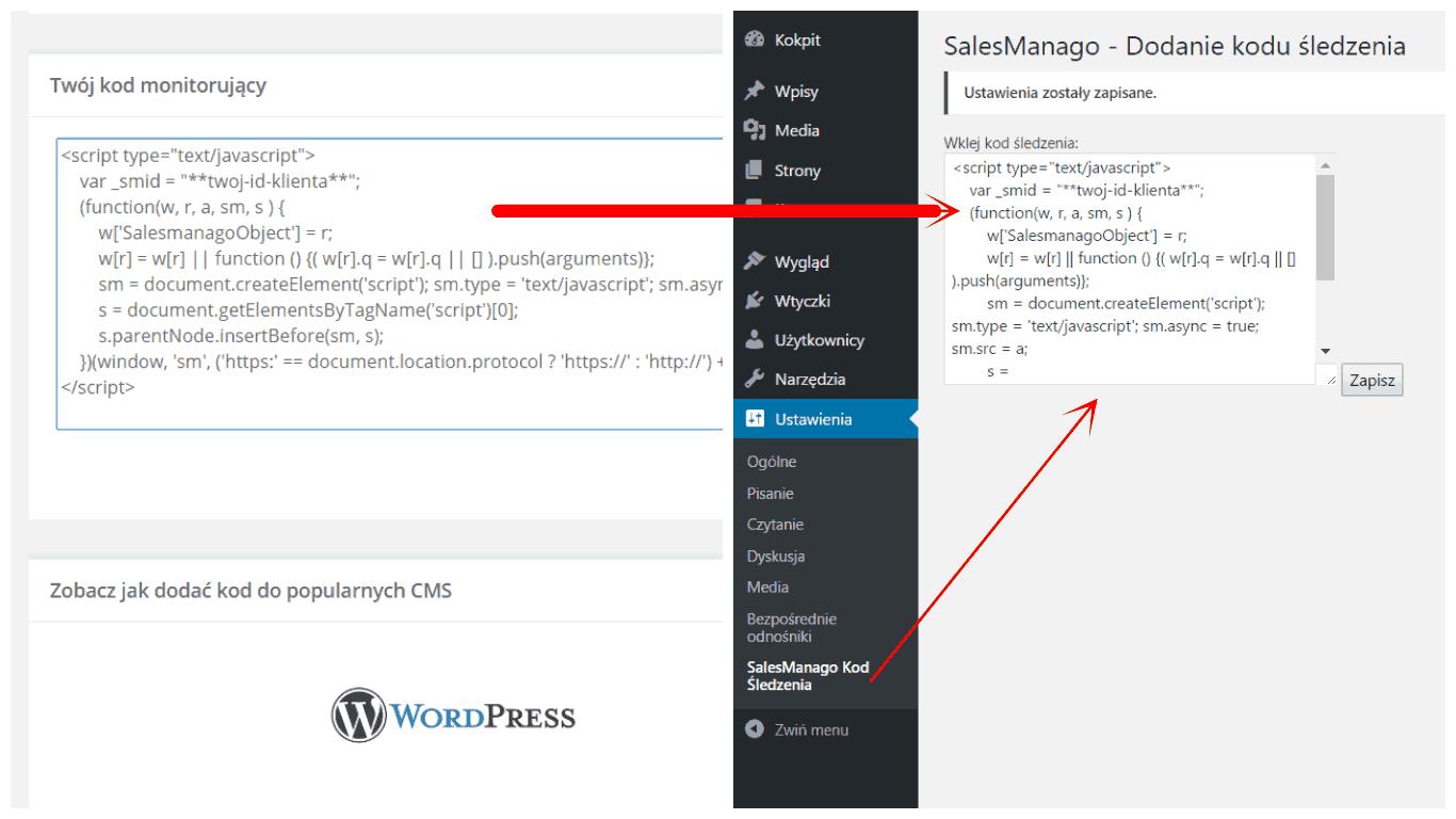 Integracja kodu śledzącego SalesManago z WordPress