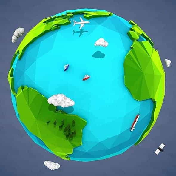 Lowpoly Earth – 3dsmax 2014