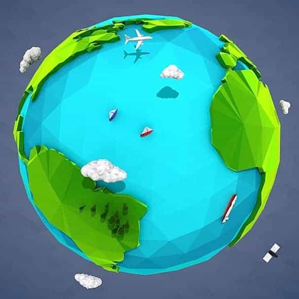 Lowpoly Earth – 3dsmax 2014