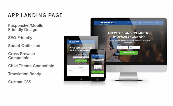 App Landing Page – Motyw WordPress | Autor: Rara Theme | Cena: Darmowy