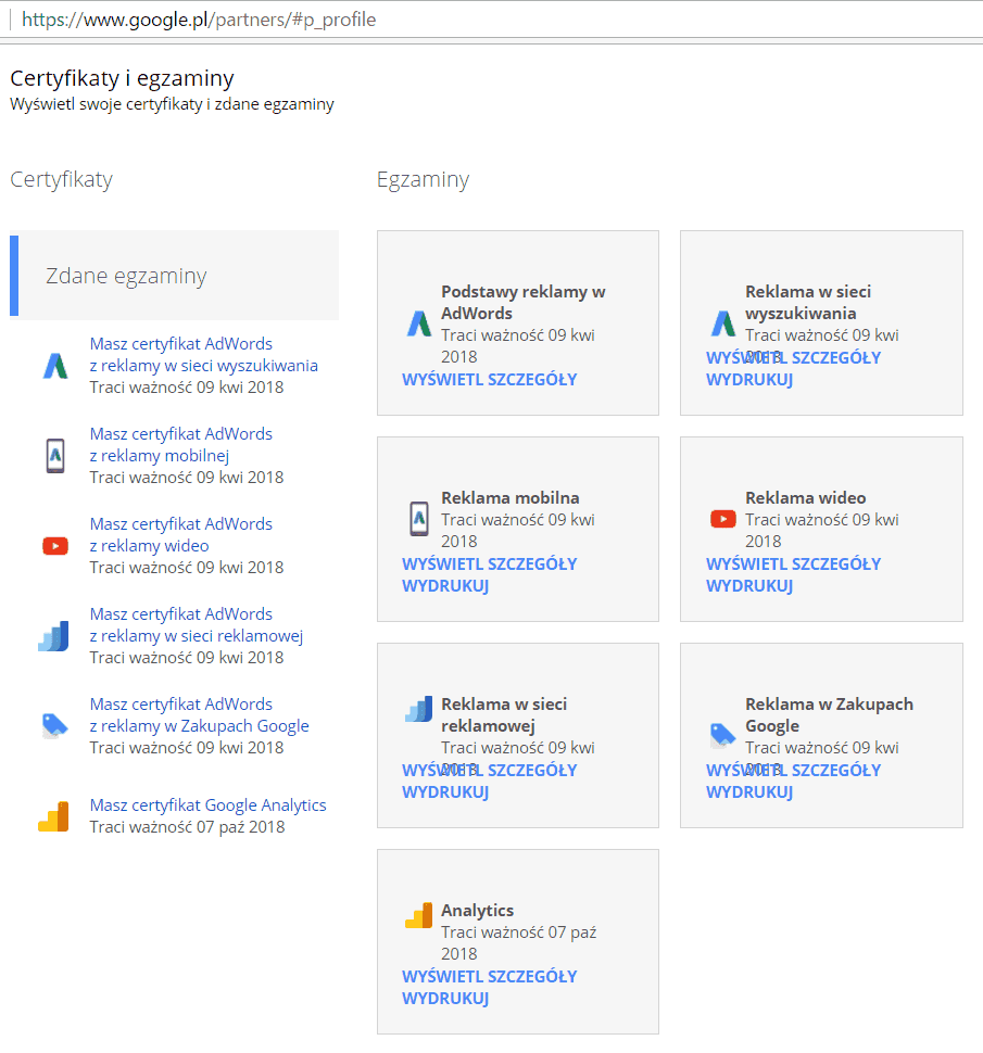 Certyfikaty Google Partners Individual Qualification - Adwords & Analytics