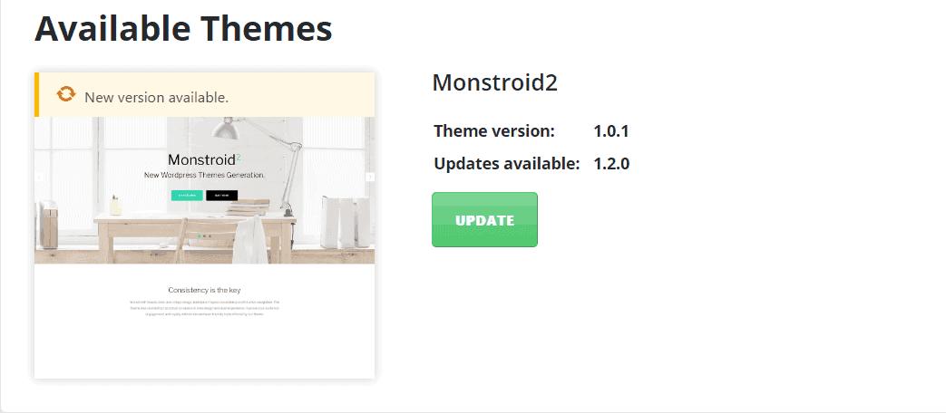 Monstroid 2 - Aktualizacja motywu poprzez Kokpit WordPressa