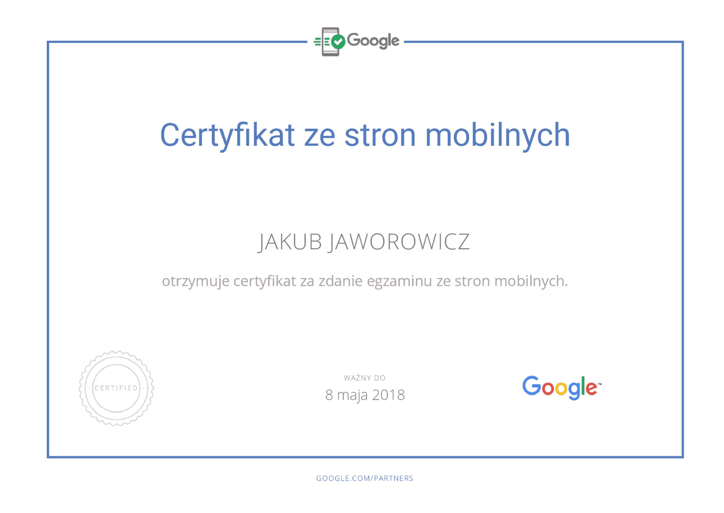 Certyfikat Google zestron Mobilnych