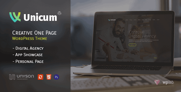 Unicum – One Page Creative WordPress 13132355
