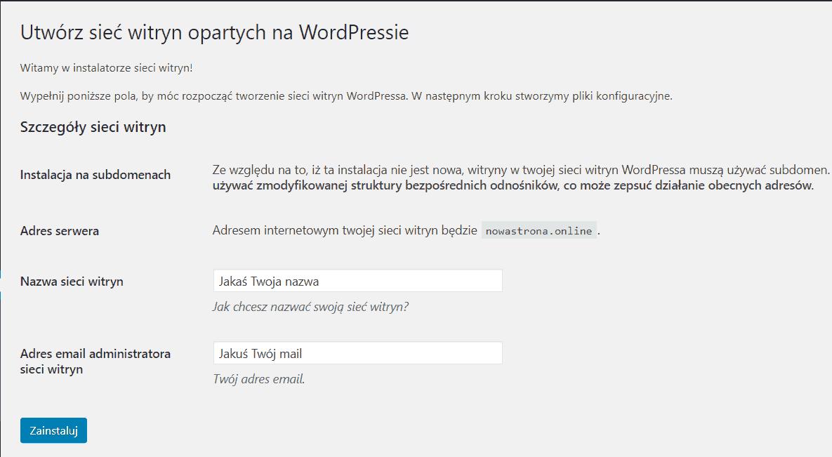 instalacja wordpress multisite