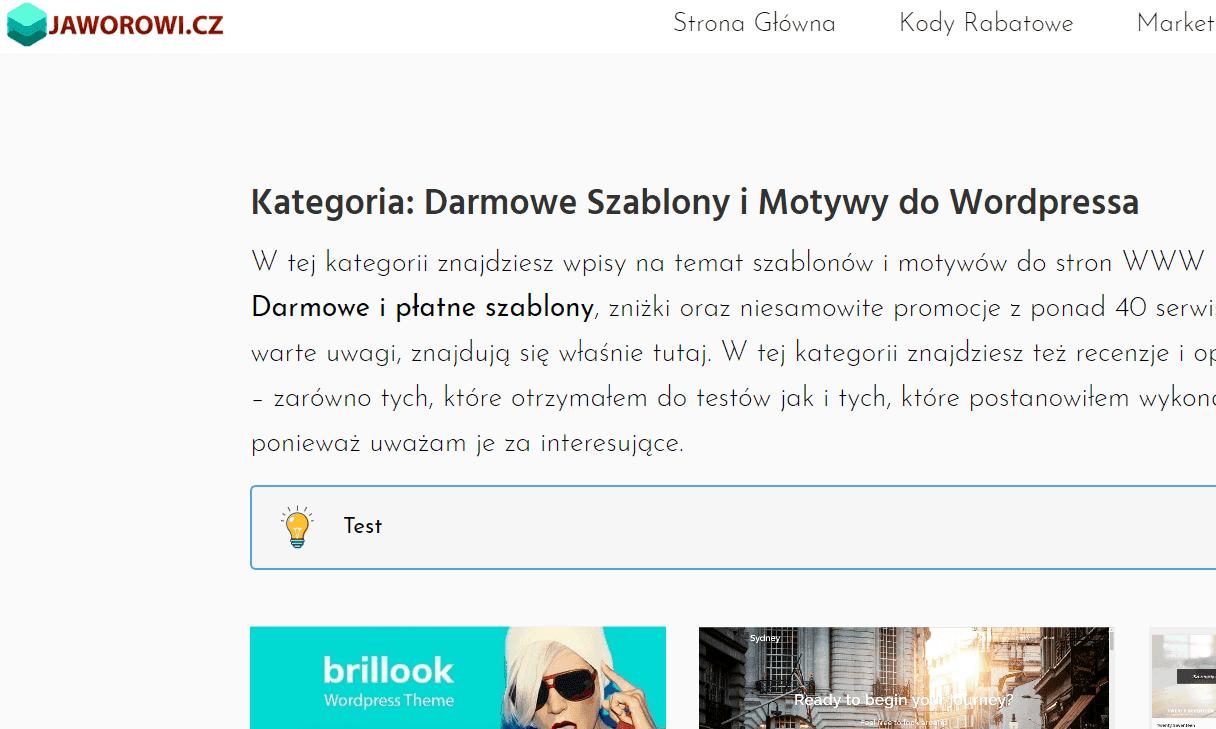 Shortcode wopisach kategorii itagów - WordPress