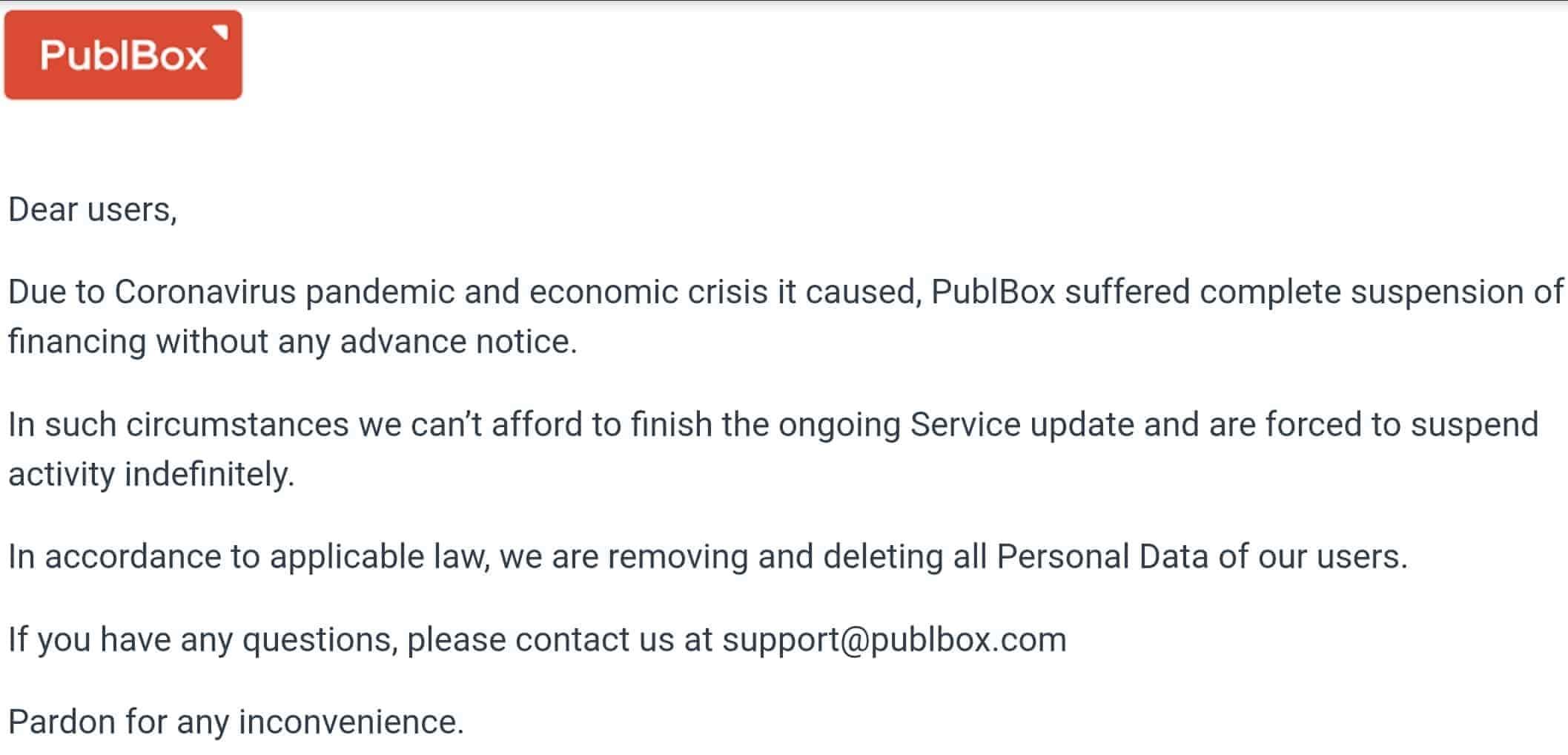 Publbox zamknięty zpowodu Covid w2020 roku