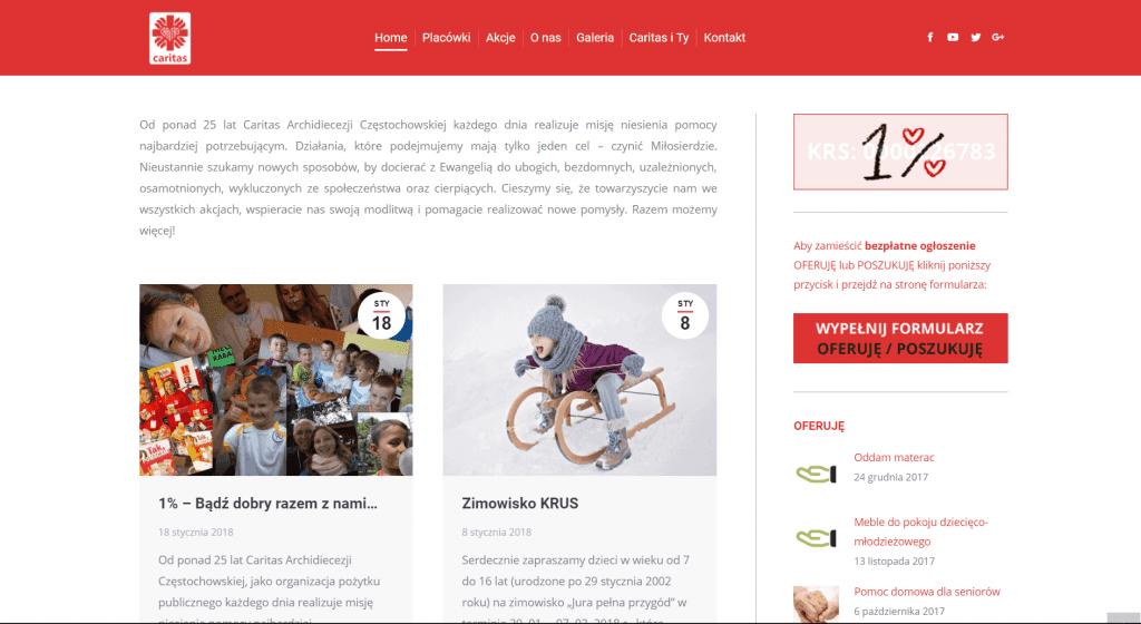Caritas - Strona internetowa, Wsparcie