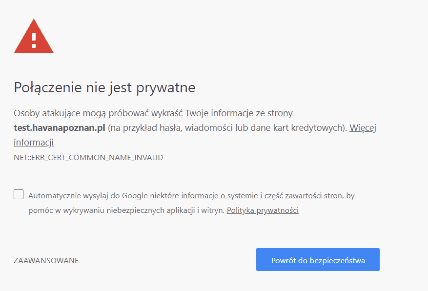 Nowa wersja Chrome toarmagedon dla stron zcertyfikatem SSL (https)!