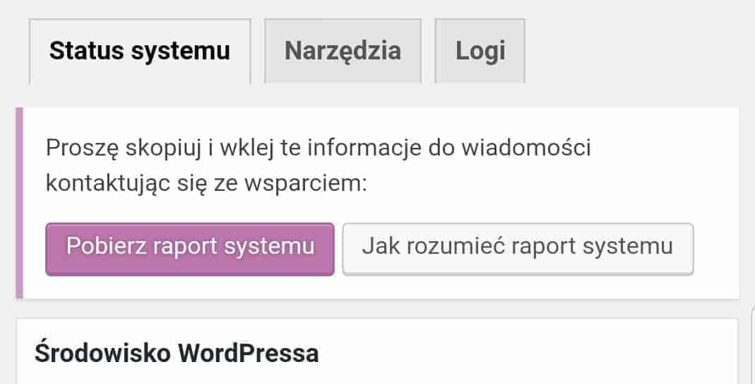 Status systemu WooCommerce