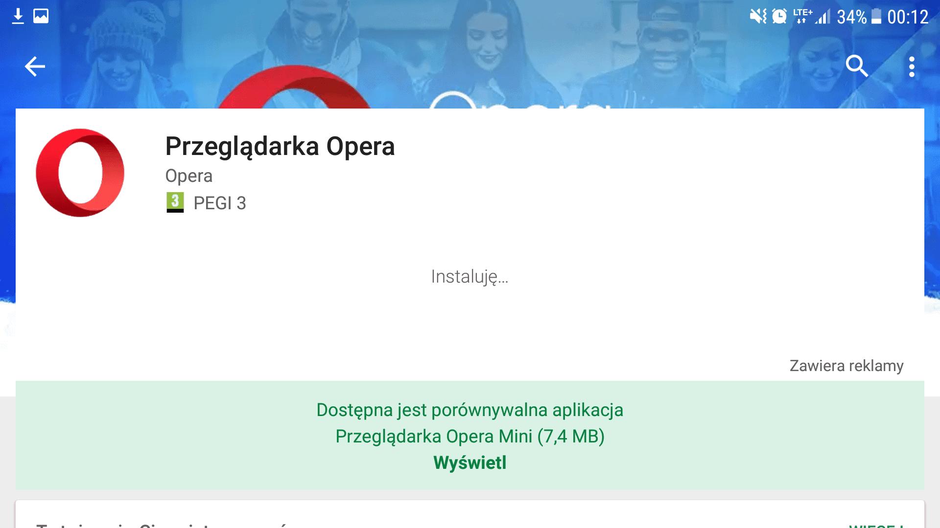 Informacja olżejszej wersji aplikacji naprzykładzie przeglądarki Opera