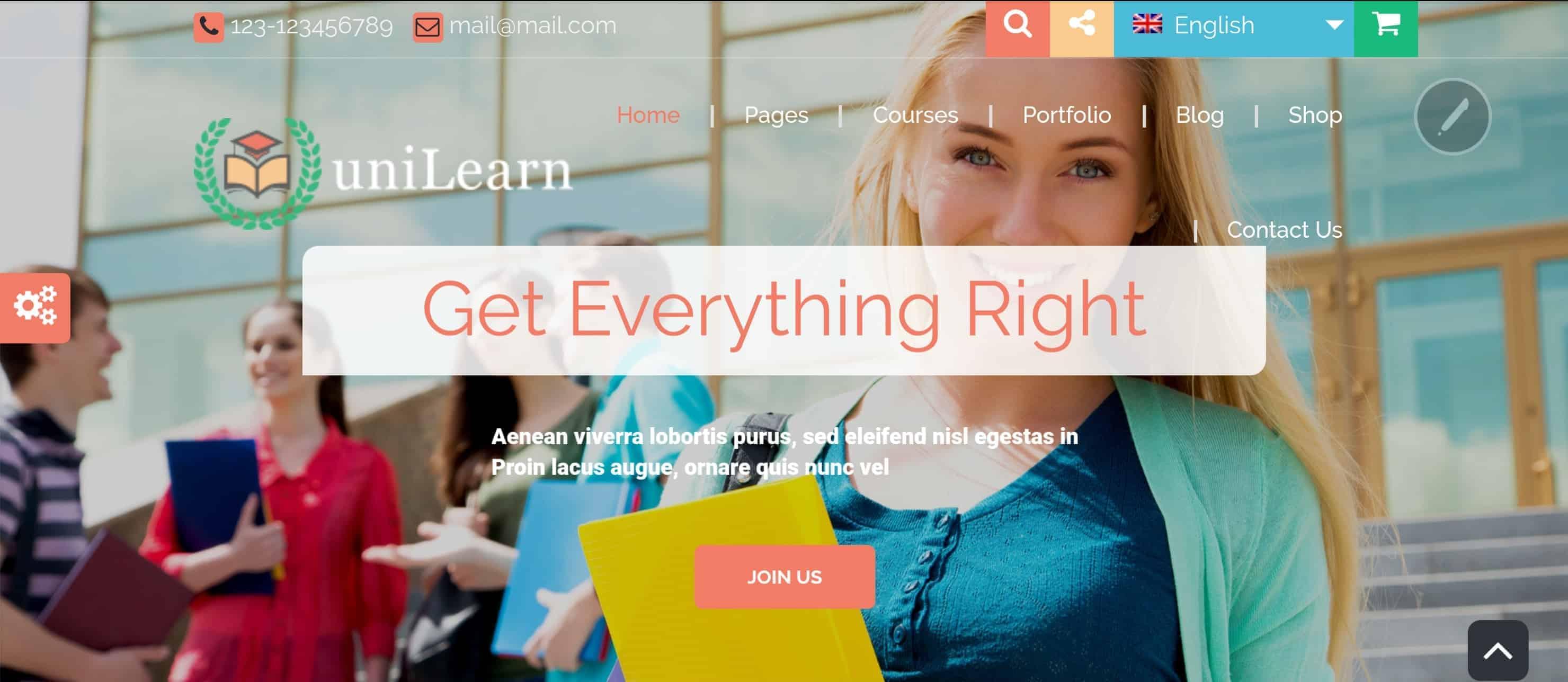 UniLearn - Motyw WordPress dla szkół isprzedaży / obsługi kursów online