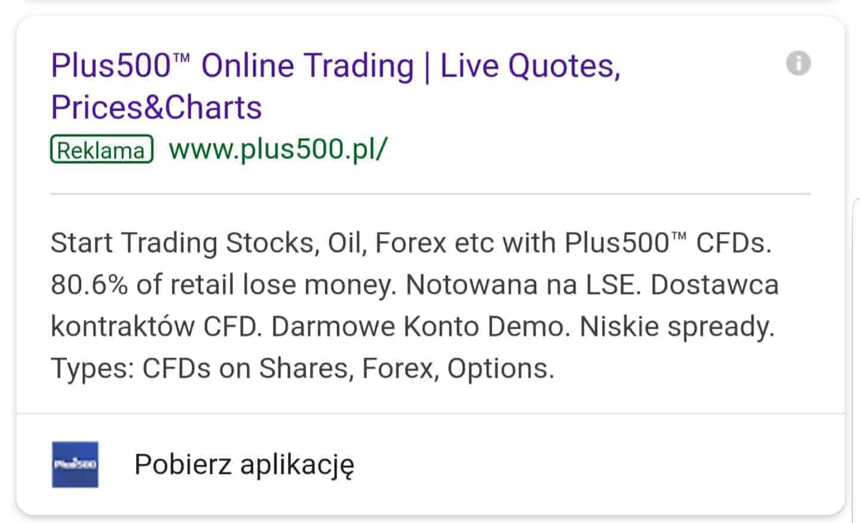 kontrakty CFD Plus500