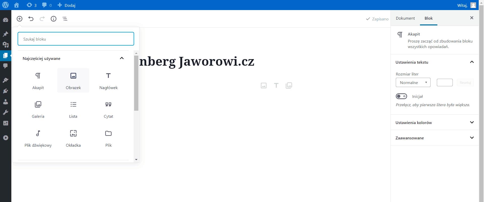 Usuwanie bloków Gutenberg WordPress