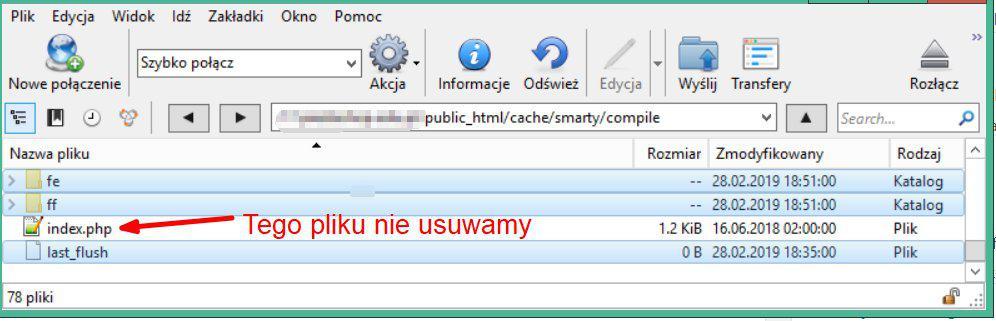 cache smarty compile pamięci podręcznej prestashop ftp