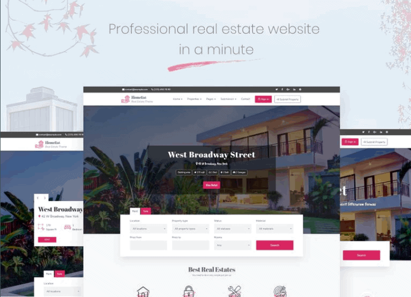 Responsywny motyw WordPress Homelist – Real Estate #68756