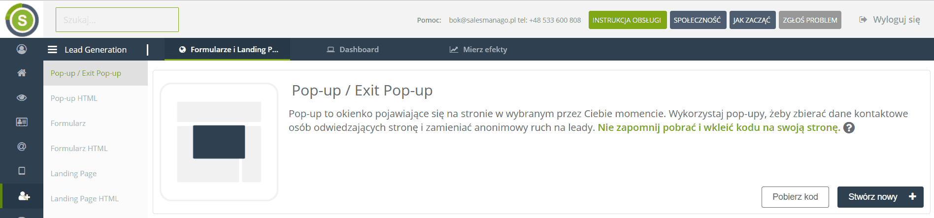 lead generation salesmanago popup