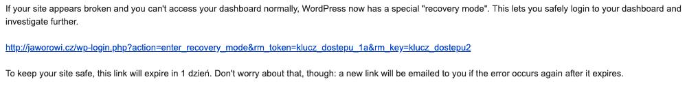 wordpress 5.2 recovery mode tryb awaryjny