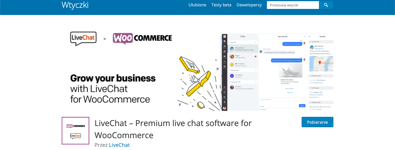 LiveChat – Premium live chat software for WooCommerce wordpress wtyczka