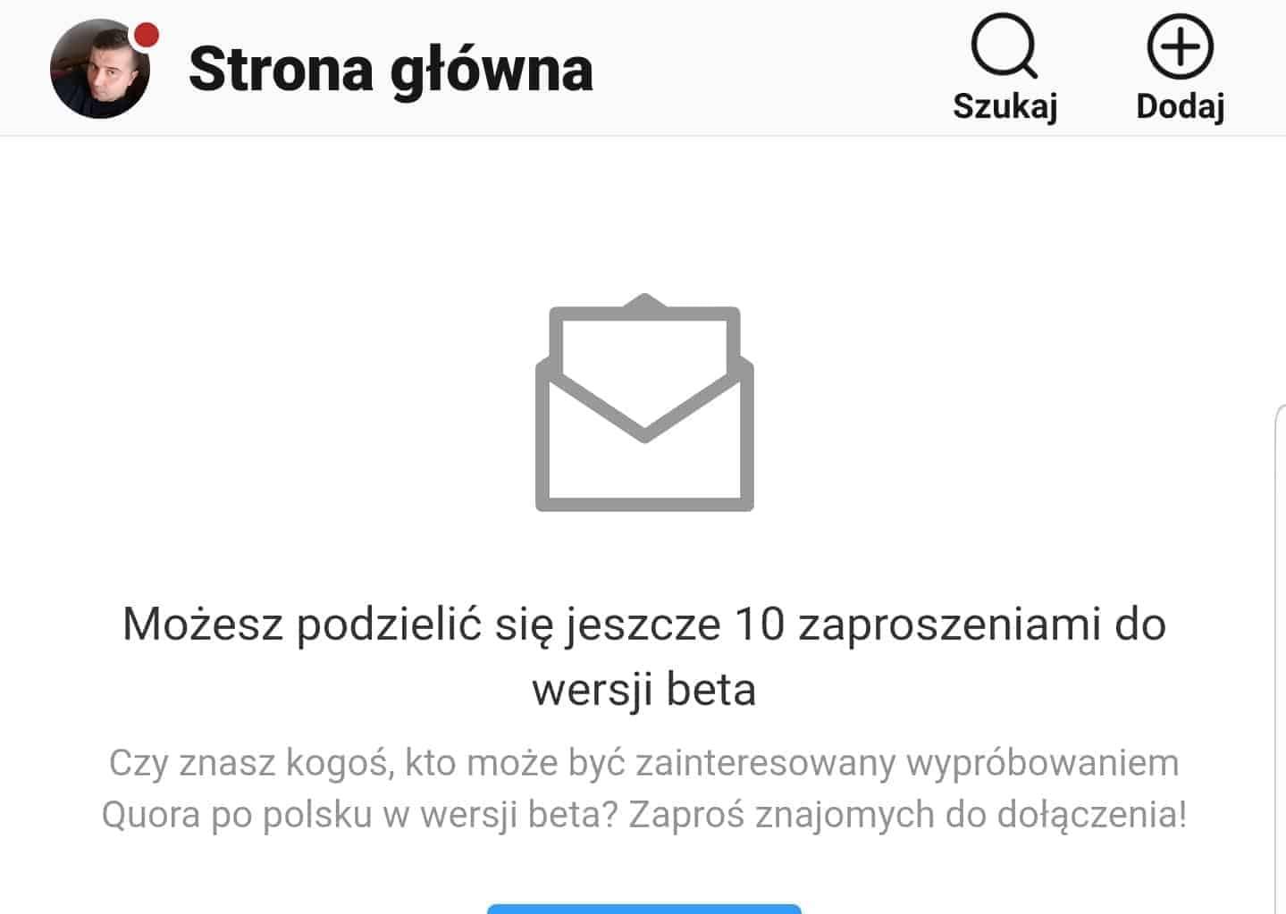 Polska Quora beta zaproszenie