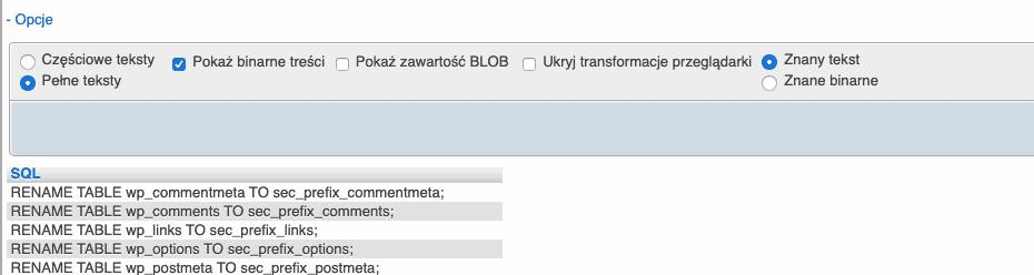 Zmiana prefiksu bazy danych wWordPress poprzez phpmyadmin