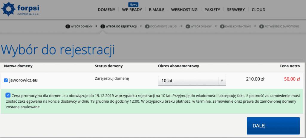 forpsi rejestracja domeny eu