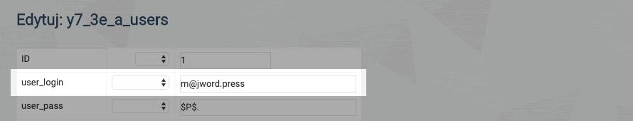 zmiana nazwy użytkownika wwordpress poprzez bazę danych mysql