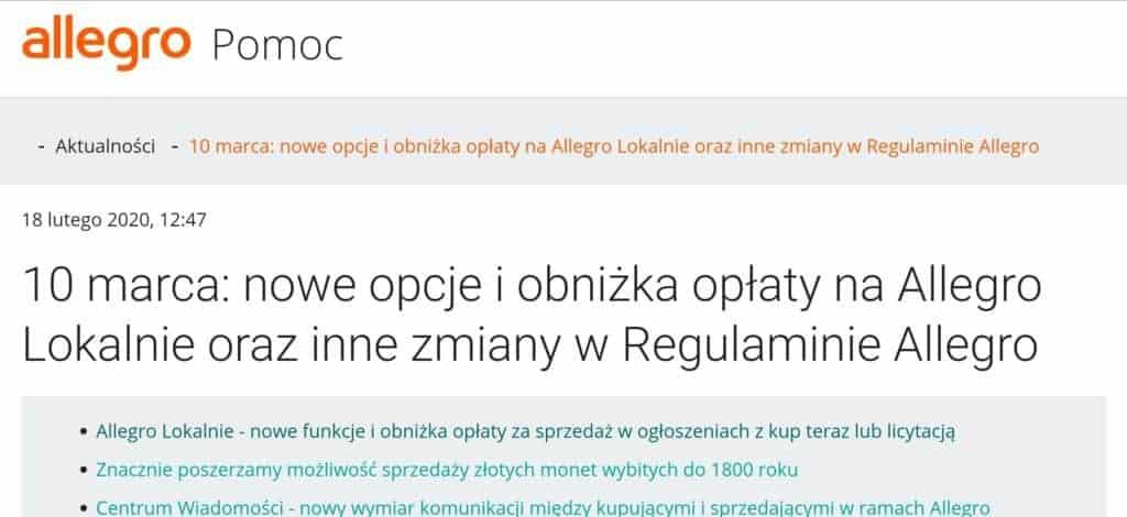 Allegro Lokalne cennik prowizje 2020