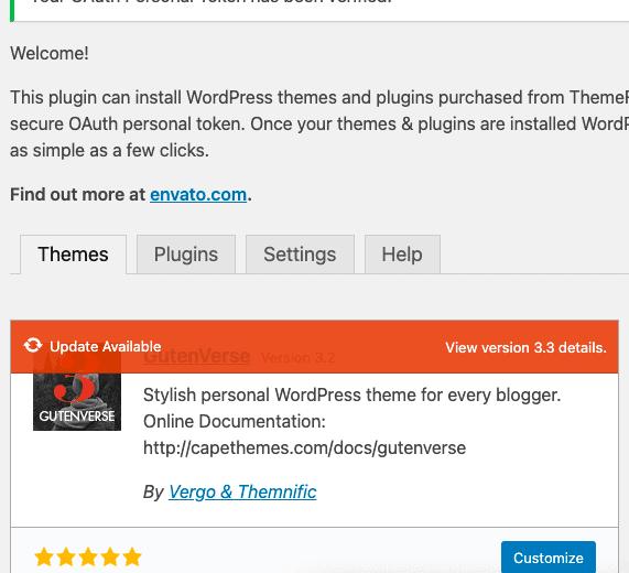 Envato Market aktualizacja wtyczek iszablonów