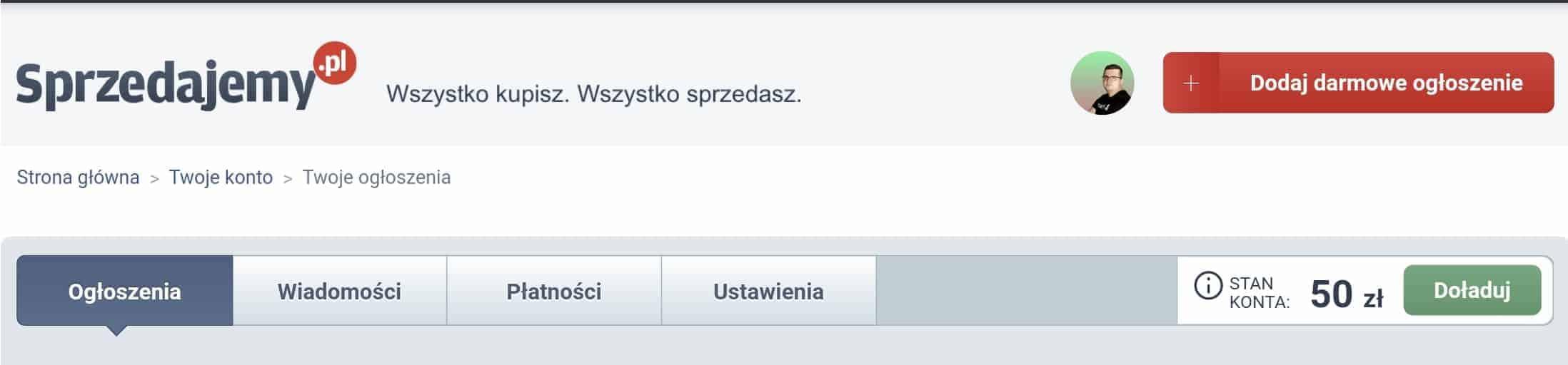 Strona sprzedajemy.pl