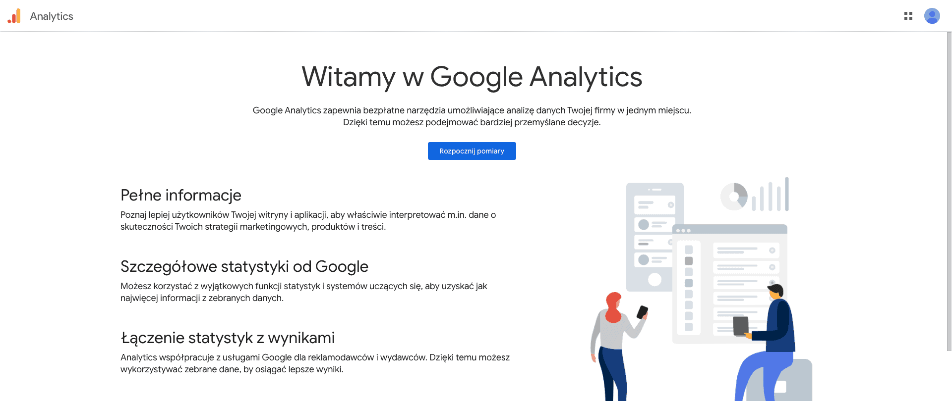 Rejestracja konta Google Analytics