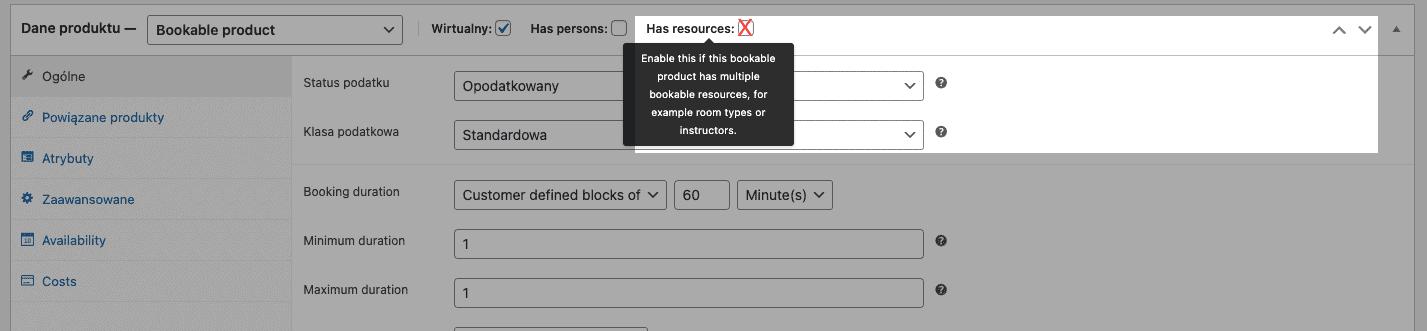 woocommerce bookings konfiguracja zasobów wprodukcie